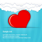 Vector heart in the clouds — Stock Vector