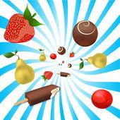 Vector mix of fruits — Stock Vector