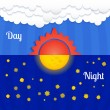 Stock Vector: Set of sun and moon, day and night