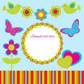 Cute spring frame design. — Stock Vector