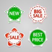 Set of vector sale stickers and labels. — Stock Vector