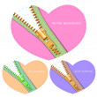 Set of hearts with zipper — Stock Vector