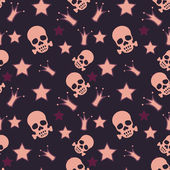 Seamless background with skulls, crowns and stars — Stock Vector