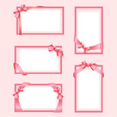 Vector set of pink frames with a bow — Stock Vector