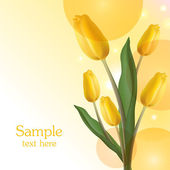 Yellow tulips bouquet card — Stock Vector