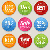 Set of colorful advertising stickers — Vector de stock