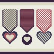 Stock Vector: Medals in the form of hearts.