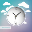 Stock Vector: White vector clock with clouds on background
