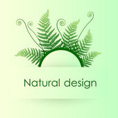 Vector green background with fern leafs — Stock Vector