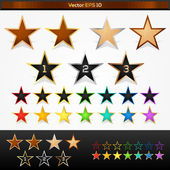 Vector set of colorful stars — Stock Vector