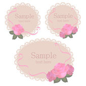 Vector floral lace frames with roses — Stock Vector