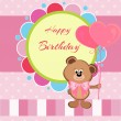 Stock Vector: Happy birthday card with teddy bear and balloons