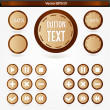 Set of round wooden media player buttons — Stock Vector