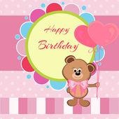 Karty urodziny misia i balony — Wektor stockowy