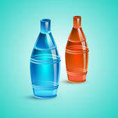 Empty red and blue bottle — Stock Vector