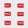 Set of red discount labels. Vector. — Vettoriali Stock