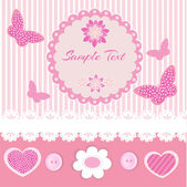 Pink frame with lace and butterflies — Stock Vector