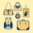 Cartoon woman's bag. Vector set — Stock Vector