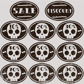 Set of vector sale skull stickers — Stock Vector
