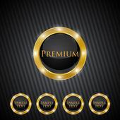 Vecteur des labels de qualité or premium — Vecteur