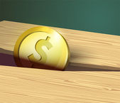 Gold coin with dollar sign and wooden board. — Stock Vector