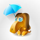 Sad dog with umbrella. — Vector de stock
