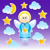 Angel with a star on the sky — Stock Vector