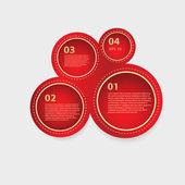 Vector red circle panels of progress — Stock Vector