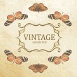 Stock Vector: Vintage background with butterflies