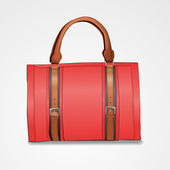 Vector illustration of red leather briefcase — Stock Vector