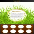 Wooden buttons set with green grass — Stock Vector