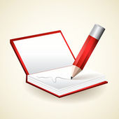 Notepad with pencil - vector illustration — Stockvector