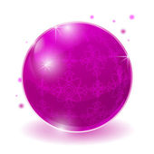 Pink glossy sphere isolated on white. — Stock Vector