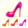 Stock Vector: Set of women shoes
