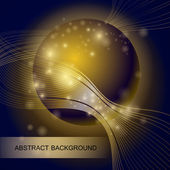 Abstract background with gold glass ball — Stock Vector