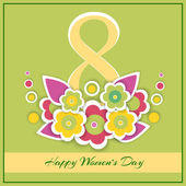 Womens day vector greeting card with flowers — Stock Vector