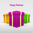 Set of gifting boxes - Happy hoidays — Stock Vector