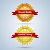 Two Premium Quality badges — Stock Vector