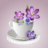 Teacup filled with violet flowers — Stock Vector