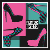 Fashion women's shoes, vector — Stock Vector