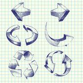 Vector hand-drawn arrows — Stock Vector