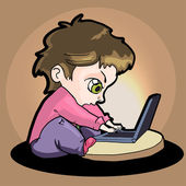 Illustration of a boy with laptop — Stock Vector