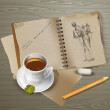 Drawing, cup of tea, pencil with eraser. — Stockvectorbeeld