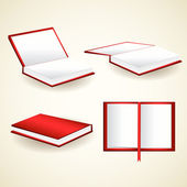 Vector set of red books — Stock Vector