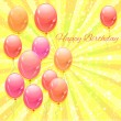 Happy birthday vector card with balloons. — Grafika wektorowa