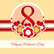 Womens day vector greeting card with flowers — Imagen vectorial