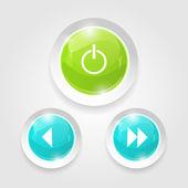 Lichte web switcher, volgende, vorige player knoppen — Stockvector
