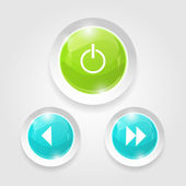 Light Web Switcher, Next, Previous Player Buttons — Cтоковый вектор