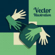 Vector background with gloves and handbag — Stok Vektör
