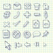 Sketchy Doodle Web Computer Icon Set — Vettoriali Stock